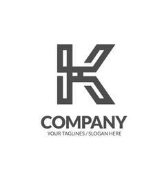 letter k geometric strong monogram logo vector image