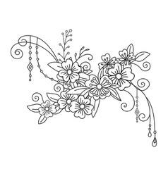 line art decorative flowers composition vector image