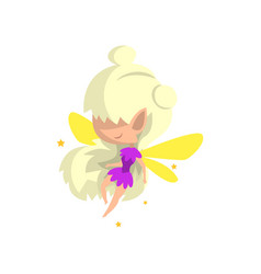 Little winged blonde elf girl cute fairytale vector