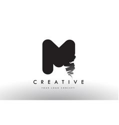M brushed letter logo black brush letters design vector