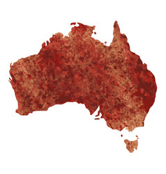 Map of australia with a reddish brown paint vector