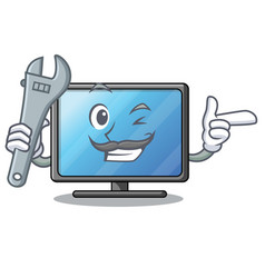 Mechanic lcd tv isolated with the character vector