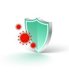 Medical protection shield stopping coronavirus vector