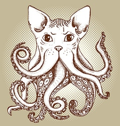 Mixed cat and octopus vector image
