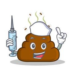nurse poop emoticon character cartoon vector image