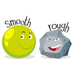 Opposite adjectives smooth and rough vector