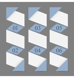 Origami paper vertical numbered banners vector image