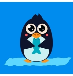 Penguin Eating Fish on Ice vector image