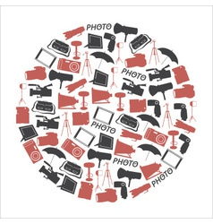 photographic and camera icons set in circle eps10 vector image