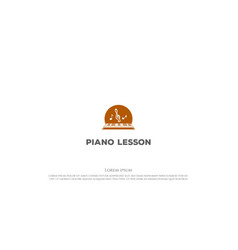 piano with music tone for course lesson logo vector image