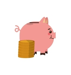 piggy bank and money icon vector image