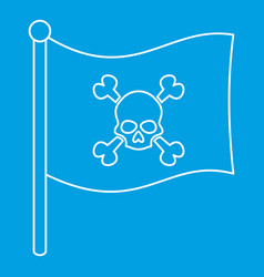 pirate flag icon outline style vector image
