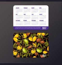 Pocket calendar with fruits vector