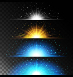 realistic light shining bright glare of lamps vector image