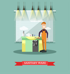 sanitary ware concept in flat vector image