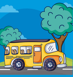 school bus on street vector image