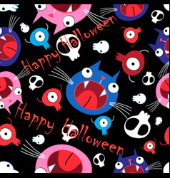 seamless vivid funny halloween pattern made of vector image