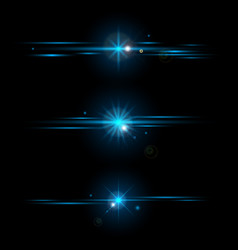 set elements glowing blue light effects vector image