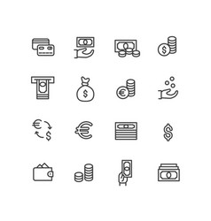 set icons credit bank card cash in hand vector image