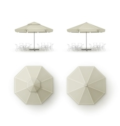 Set of Beige Patio Outdoor Beach Cafe Bar Umbrella vector
