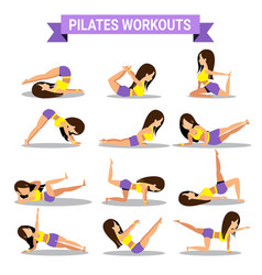 set of pilates workouts design vector image