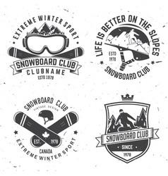 Set of snowboard club insignia vector