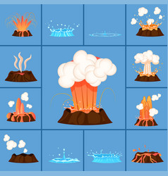 Set of volcanic eruption and burst of hot spring vector