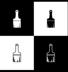 set paint brush icons isolated on black and white vector image