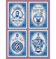 set template stamps with elements barbershop vector image