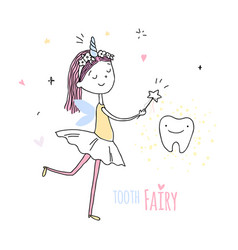 Smiling tooth fairy cute little happy fairy girl vector