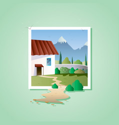 spring landscape with house on mountain vector image