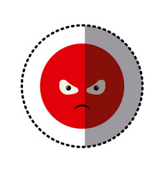 Sticker colorful emoticon furious face expression vector