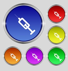 Syringe icon sign Round symbol on bright colourful vector