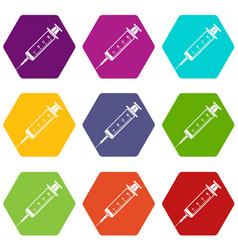 syringe icons set 9 vector image