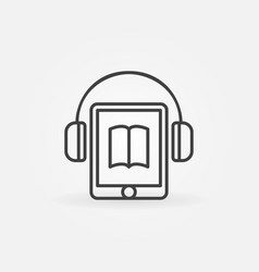 Tablet with headphones icon vector