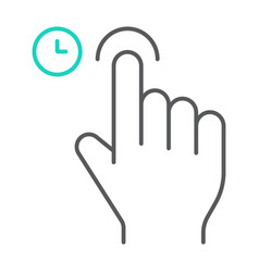 Touch and hold thin line icon gesture and hand vector