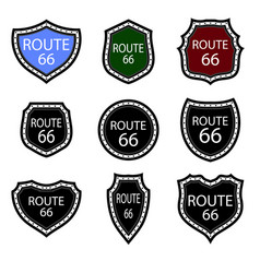 united states numdered sign 66 route highway vector image