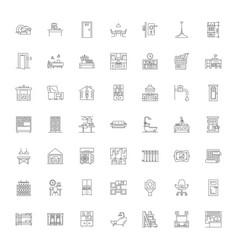 urban interior linear icons signs symbols vector image