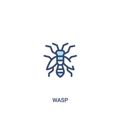 Wasp concept 2 colored icon simple line element vector