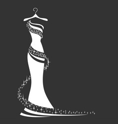 Wedding dress silhouette vector