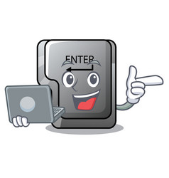 With laptop button enter in shape mascot vector