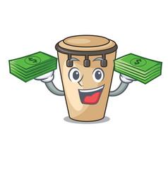 With money conga mascot cartoon style vector