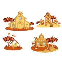 Wooden country houses vector