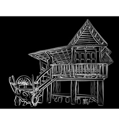 Wooden house sketch vector