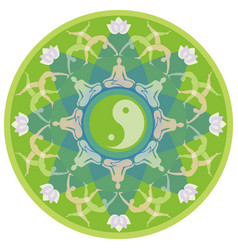 yoga mandala with silhouettes in yoga poses vector image