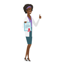 Young african-american doctor holding certificate vector