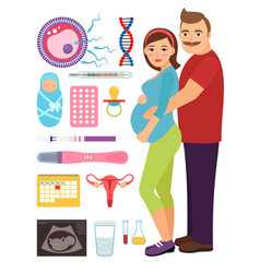young couple during pregnancy problem and vector image