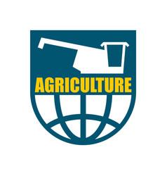 agriculture logo harvest emblem combine harvester vector image vector image