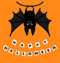 Bat hanging on the tree ring happy halloween vector