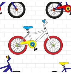 Colorful Bicycle on White Brick Wall vector image vector image